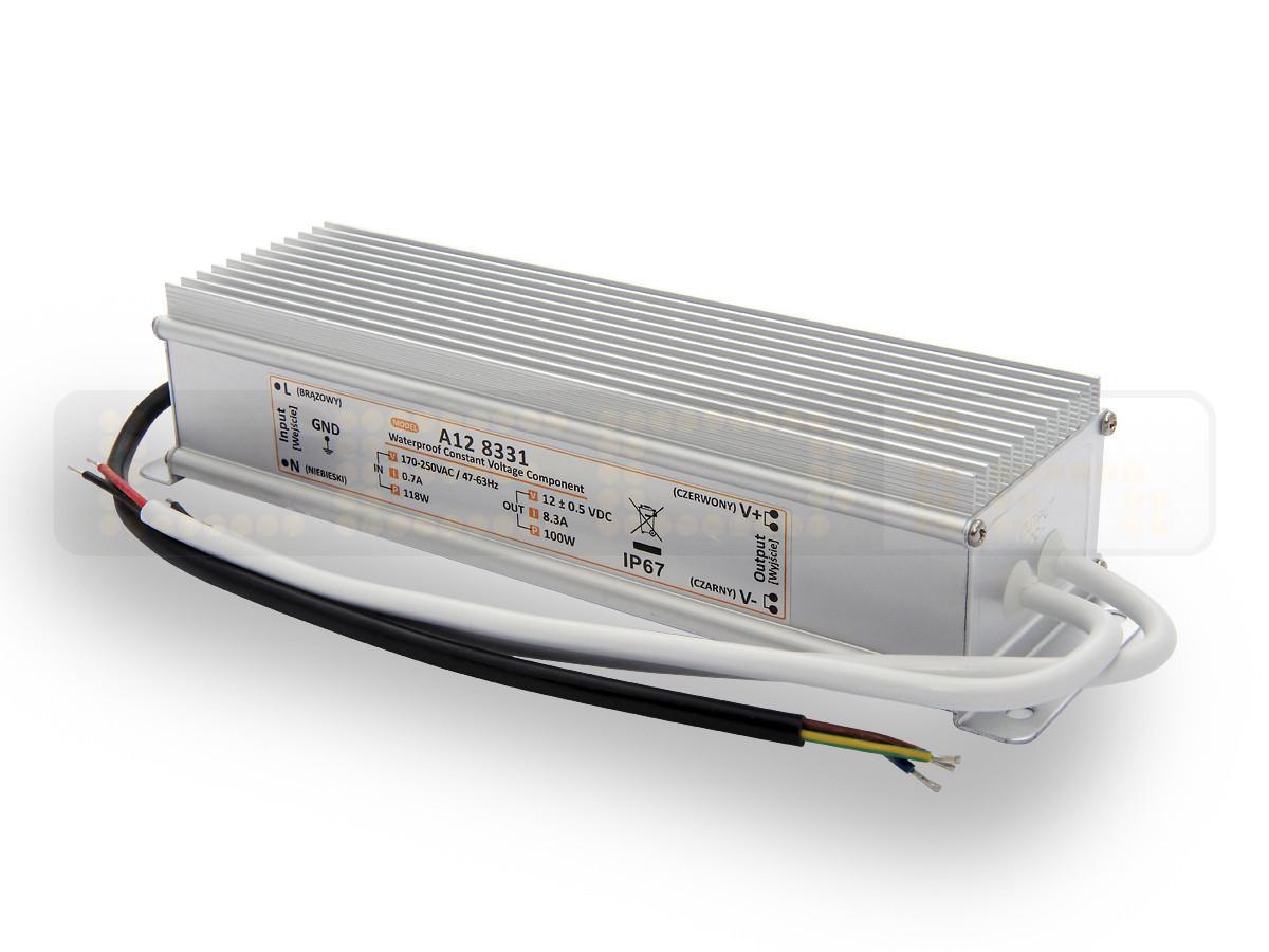 100W LED Netzteil, LED Trafo 12V 8,33A IP67 für LED strips LED leiste