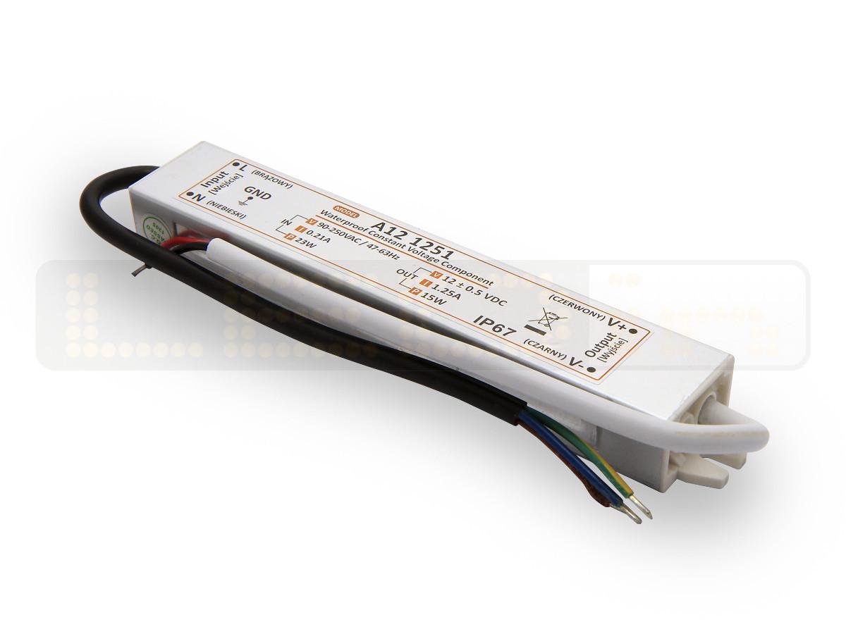 15W LED Netzteil, LED Trafo 12V 1,25A IP67 für LED strips LED leiste