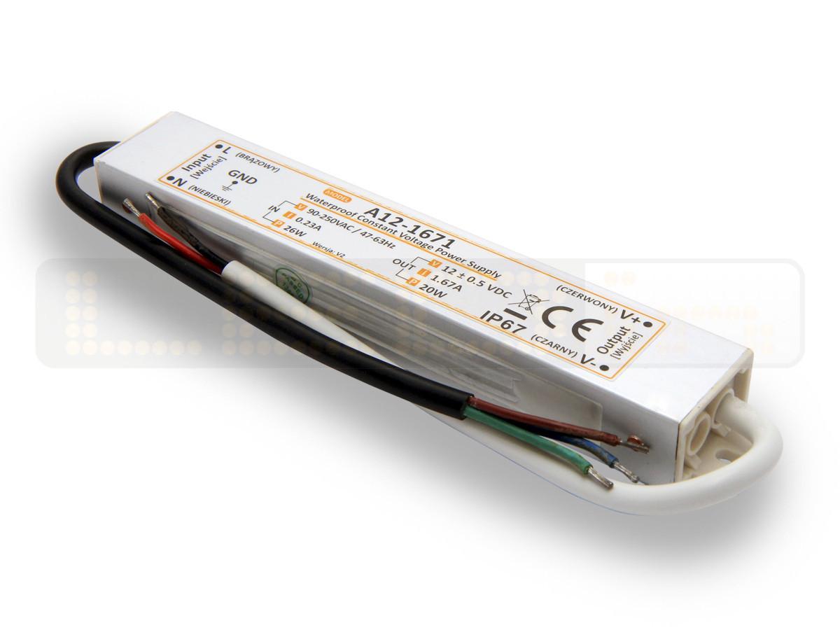 20W LED Netzteil, LED Trafo 12V 1,6A IP67 für LED strips LED leiste