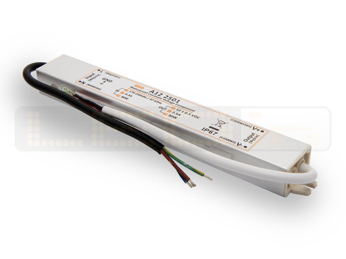 30W LED Netzteil, LED Trafo 12V 2,5A IP67 für LED strips LED leiste
