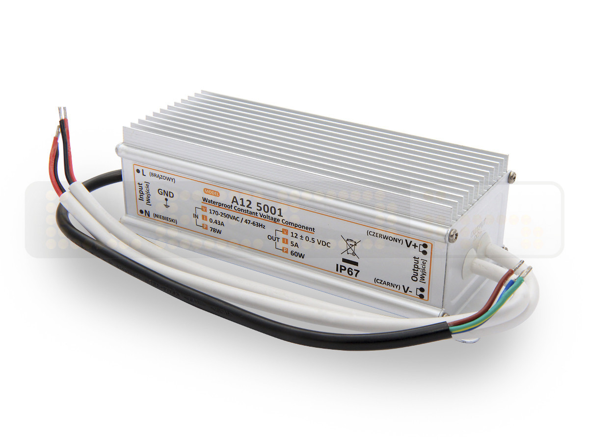 60W LED Netzteil, LED Trafo 12V 5A IP67 für LED strips LED leiste