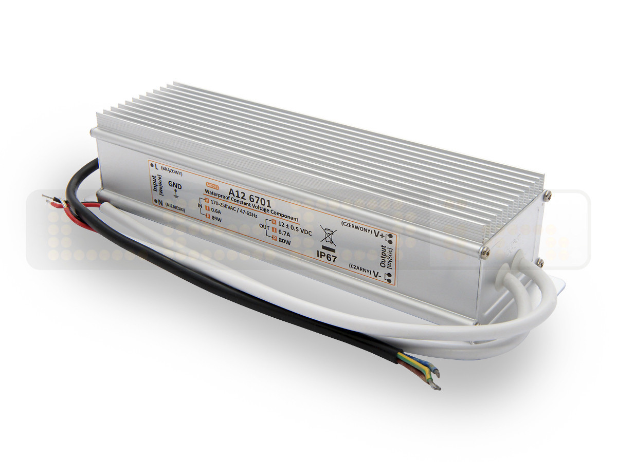 80W LED Netzteil, LED Trafo 12V 6,7A IP67 für LED strips LED leiste