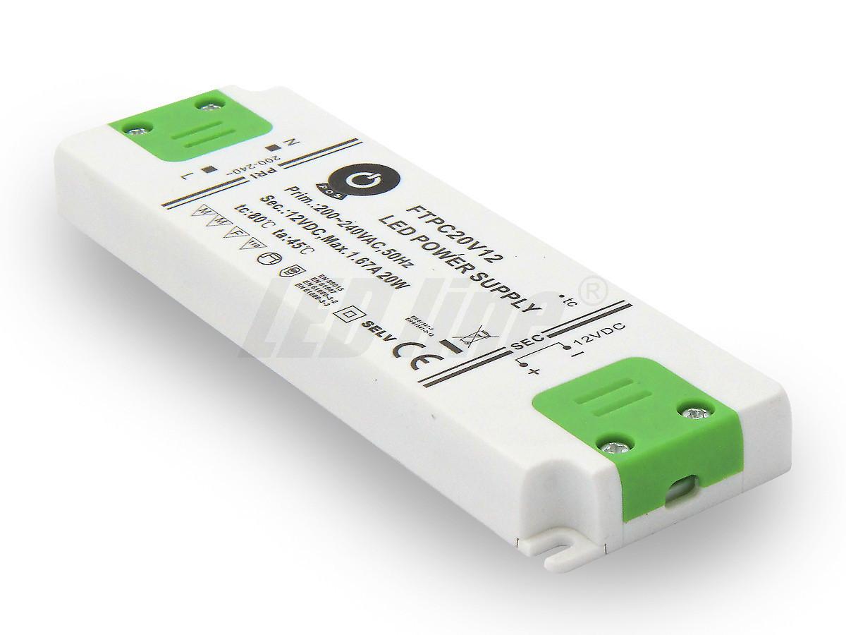 20W LED Netzteil, Möbel LED Trafo 12V 1,6A IP20 für LED strips LED leiste