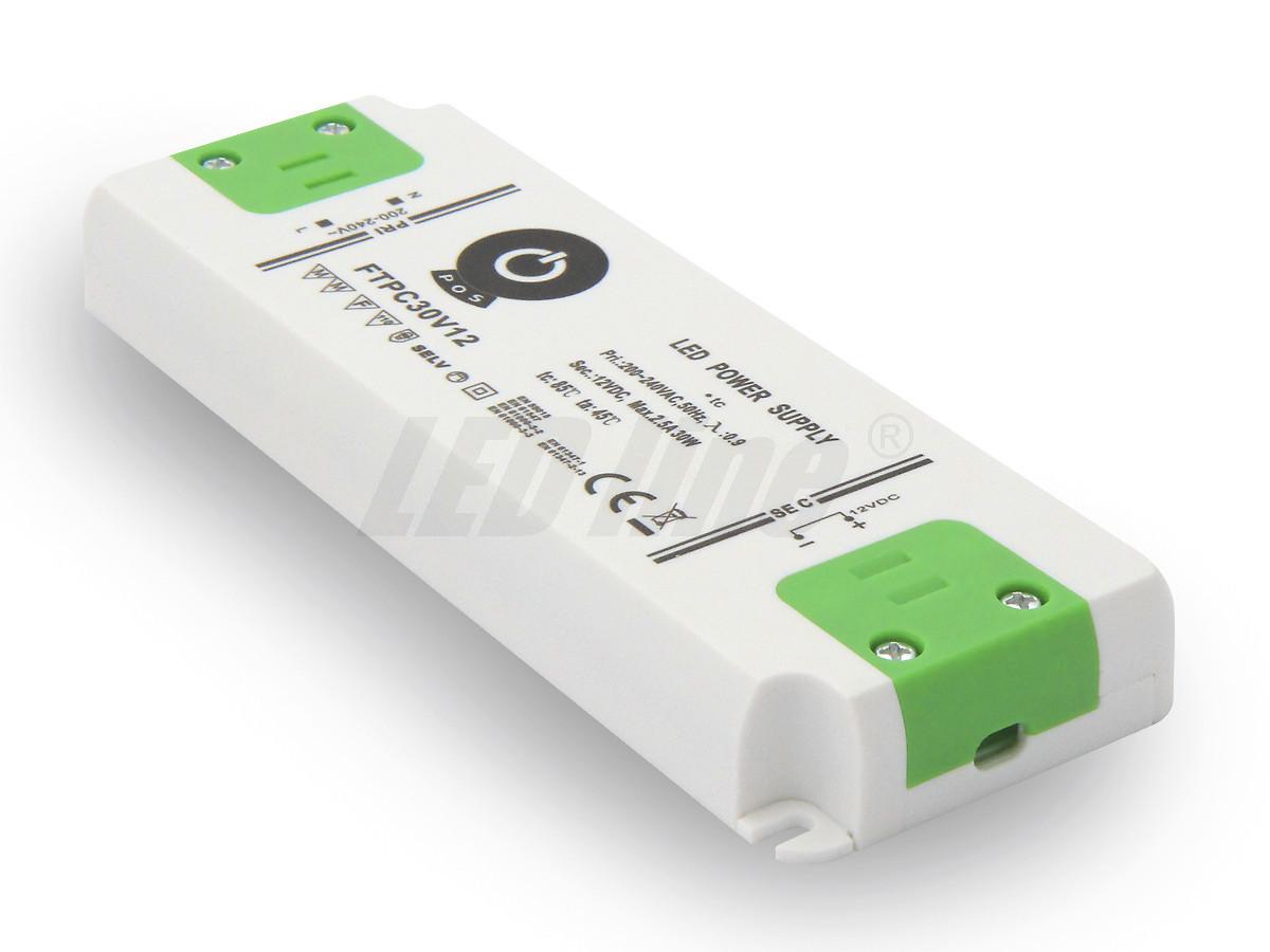 30W LED Netzteil, Möbel LED Trafo 12V 2,5A IP20 für LED strips LED leiste