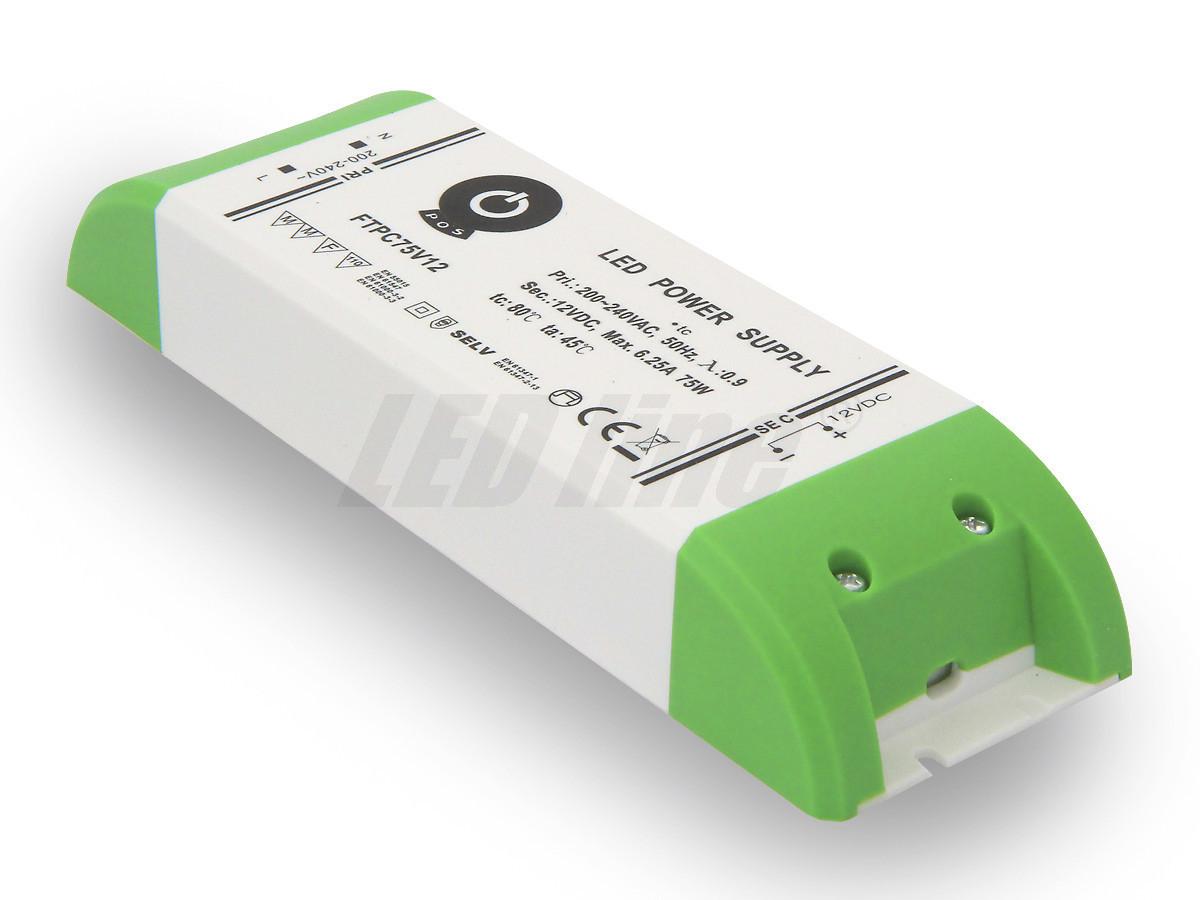 75W LED Netzteil, Möbel LED Trafo 12V 6,25A IP20 für LED strips LED leiste